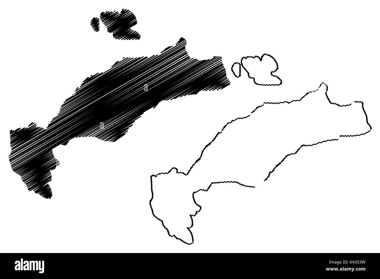 Greek Island of Kos map vector illustration, scribble sketch Kos ...