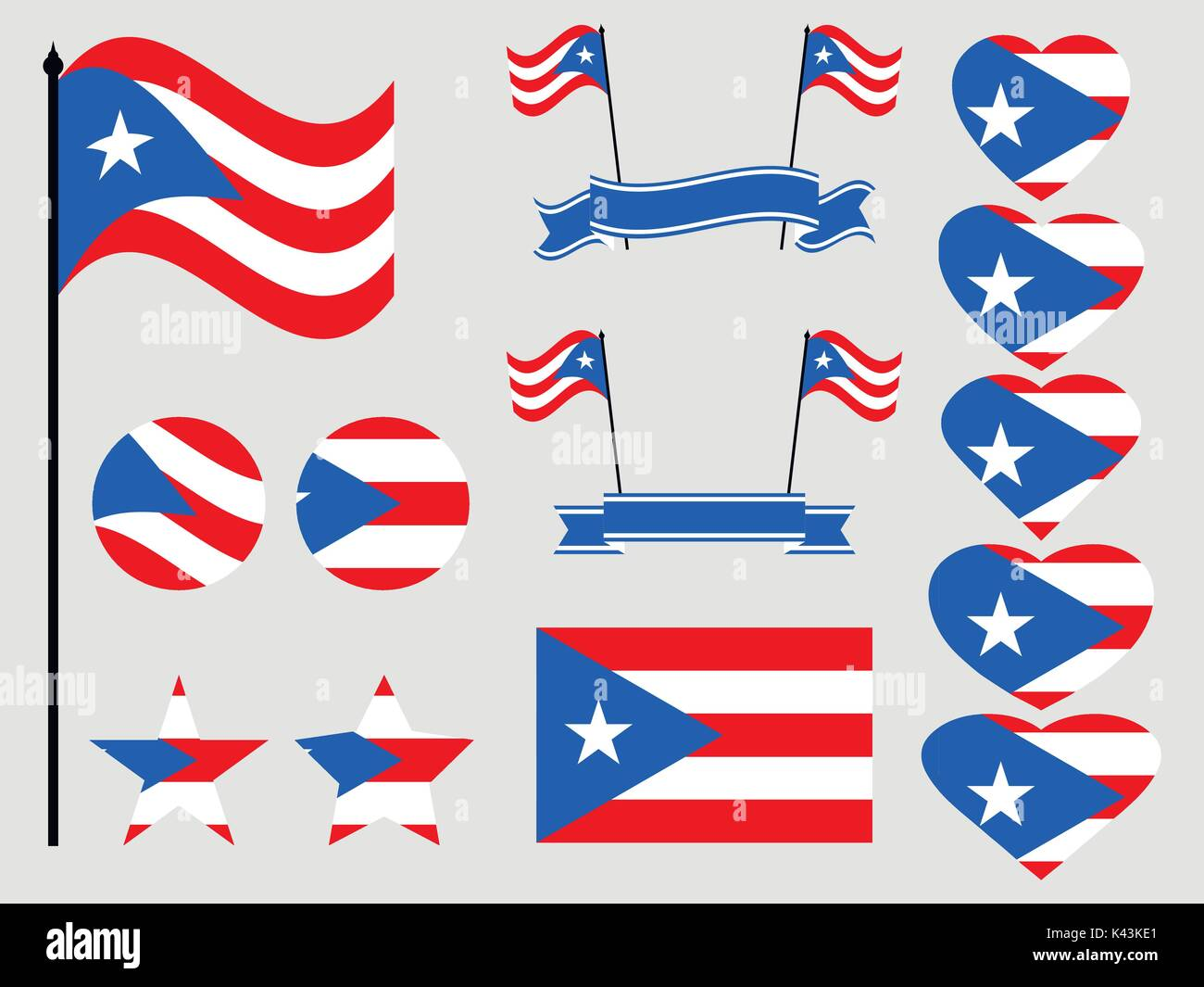 Puerto rico flag set symbols flag in heart vector illustration puerto rico flag set symbols flag in heart vector illustration biocorpaavc Image collections