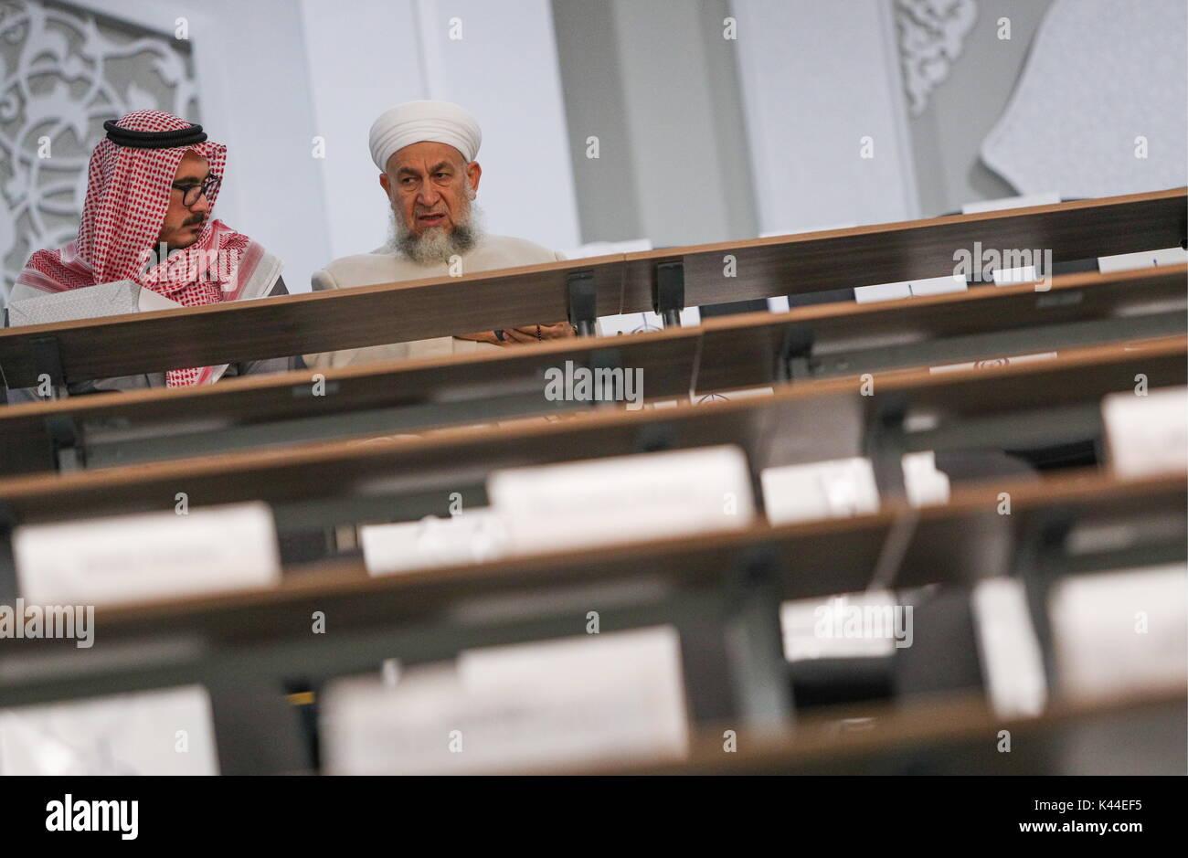 Arabic Teacher Abdul Razzaq Al Saadi R With Son At The Bolgar Islamic Academy BIA Credit Maxim Tumanov TASS Alamy Live News