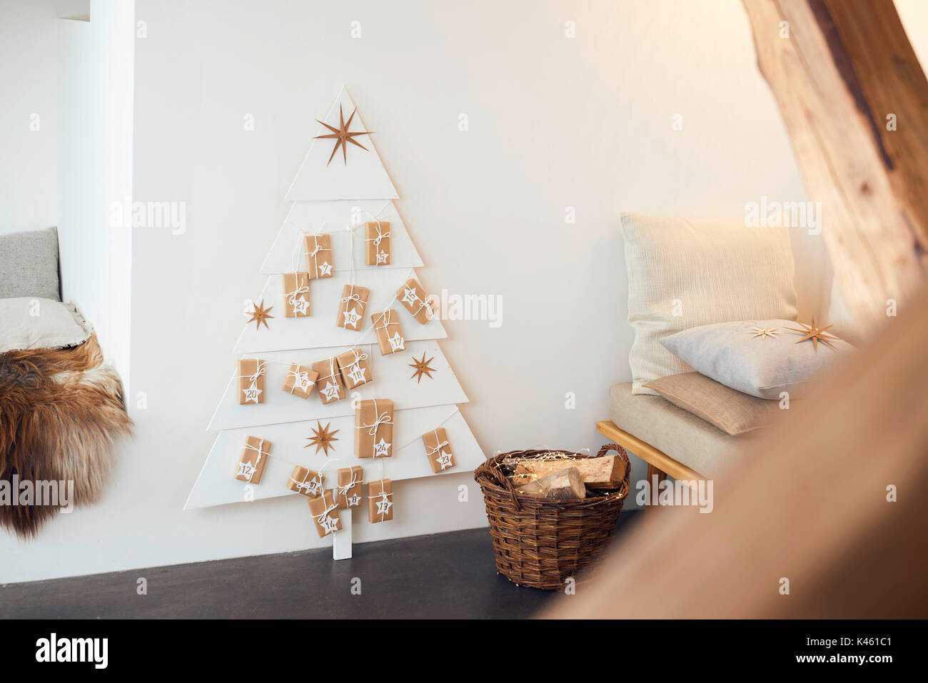Self Made Christmas Calendar : Christmas straw decoration stars stock photos