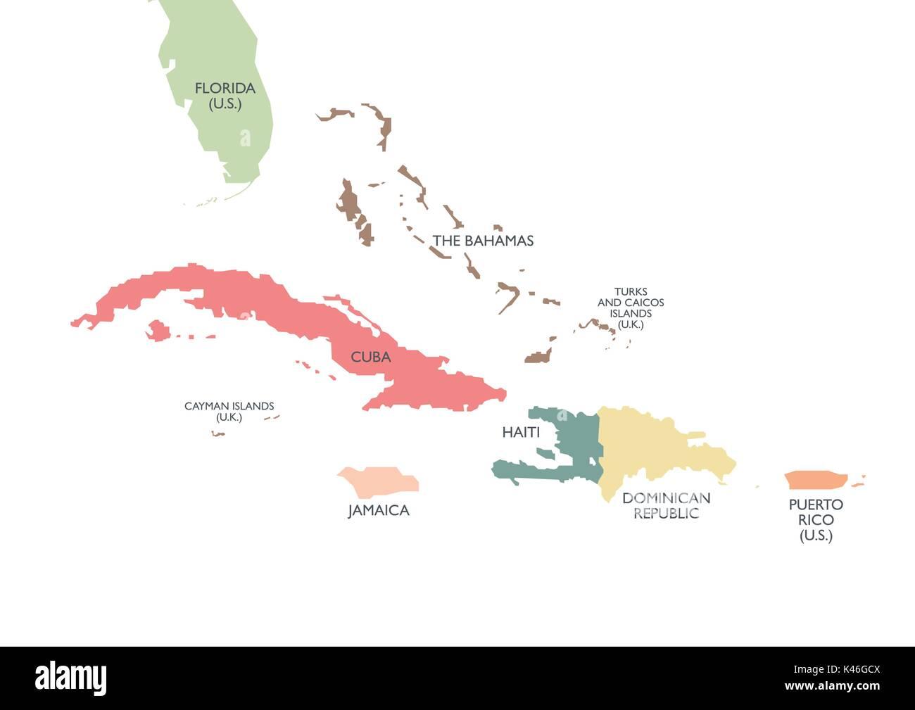Greater Antilles Political Map Vector Illustration Stock Vector - Political map of cuba