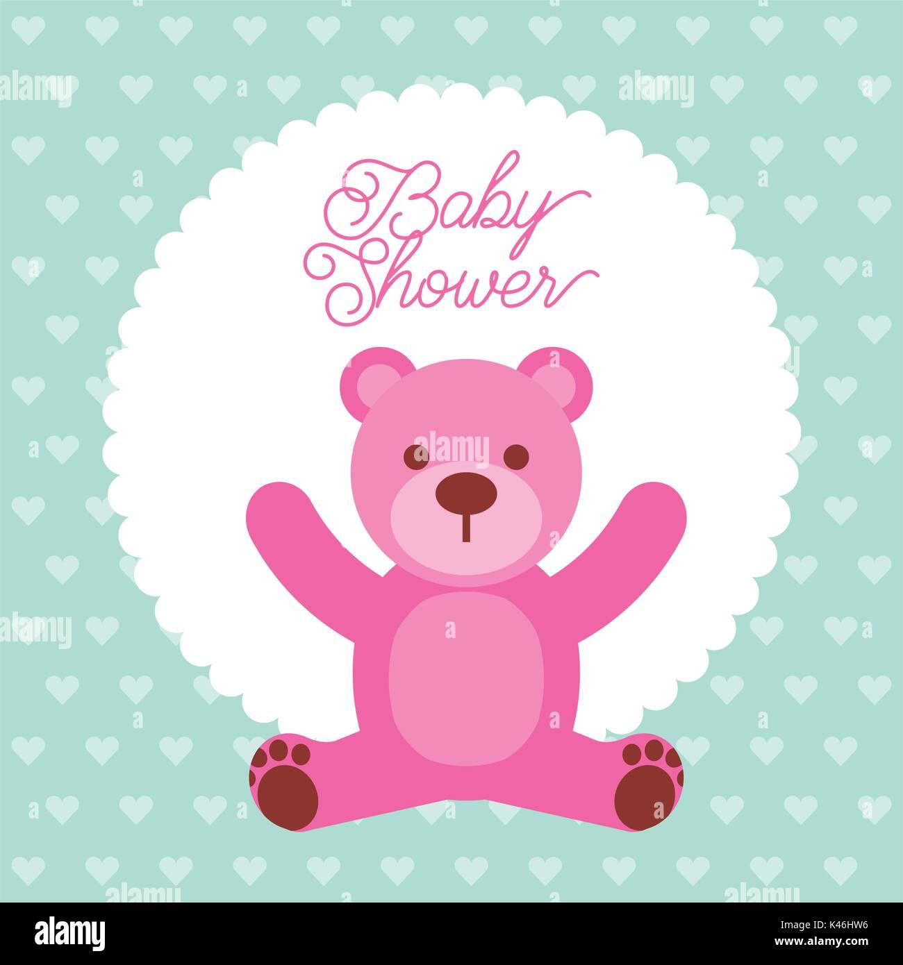 baby shower pink teddy bear card invitation stock vector art