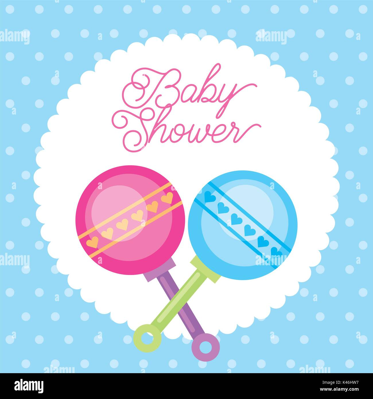 Baby Shower Card Greeting With Rattler Toy Dots Background