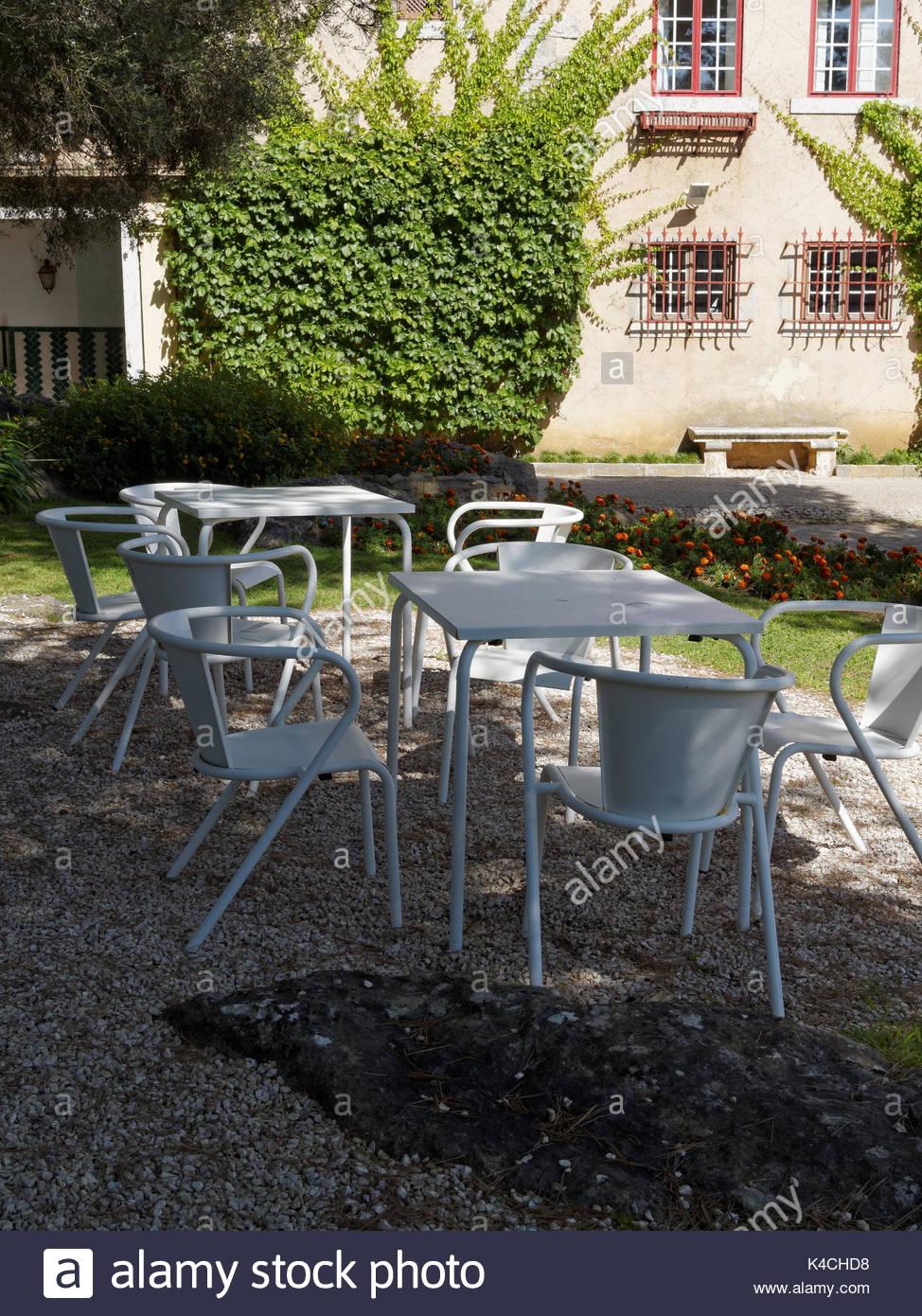 White garden furniture  Casa de Santa Maria  Cascais  Portugal   Stock Image. Shade Garden Seating Stock Photos   Shade Garden Seating Stock