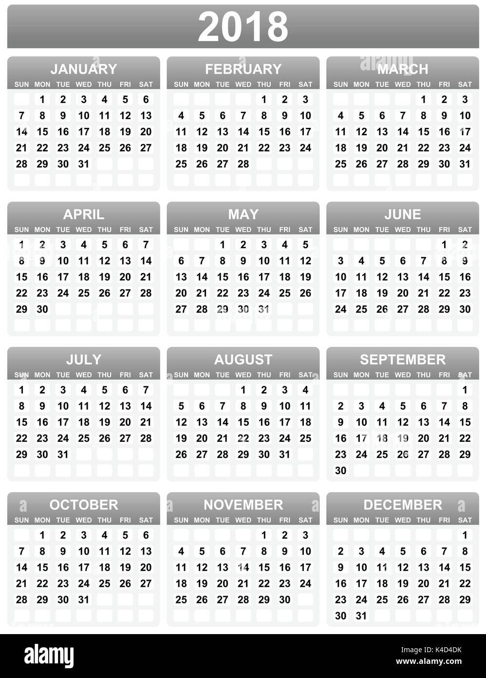 simple editable 2018 year vector calendar on white background in eps