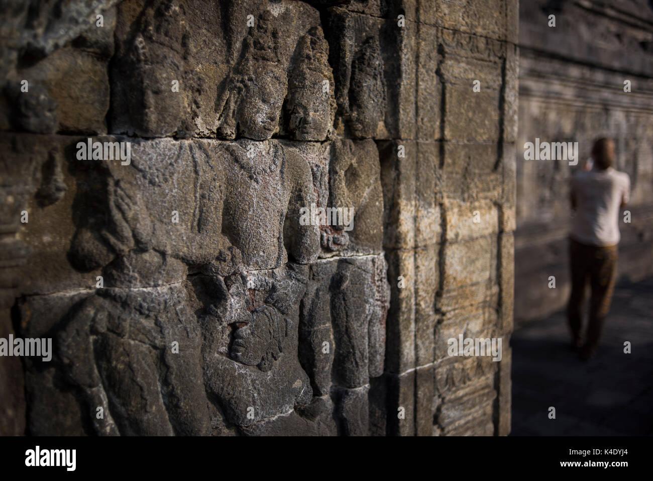 Buddha carvings borobudur java indonesia stock photos