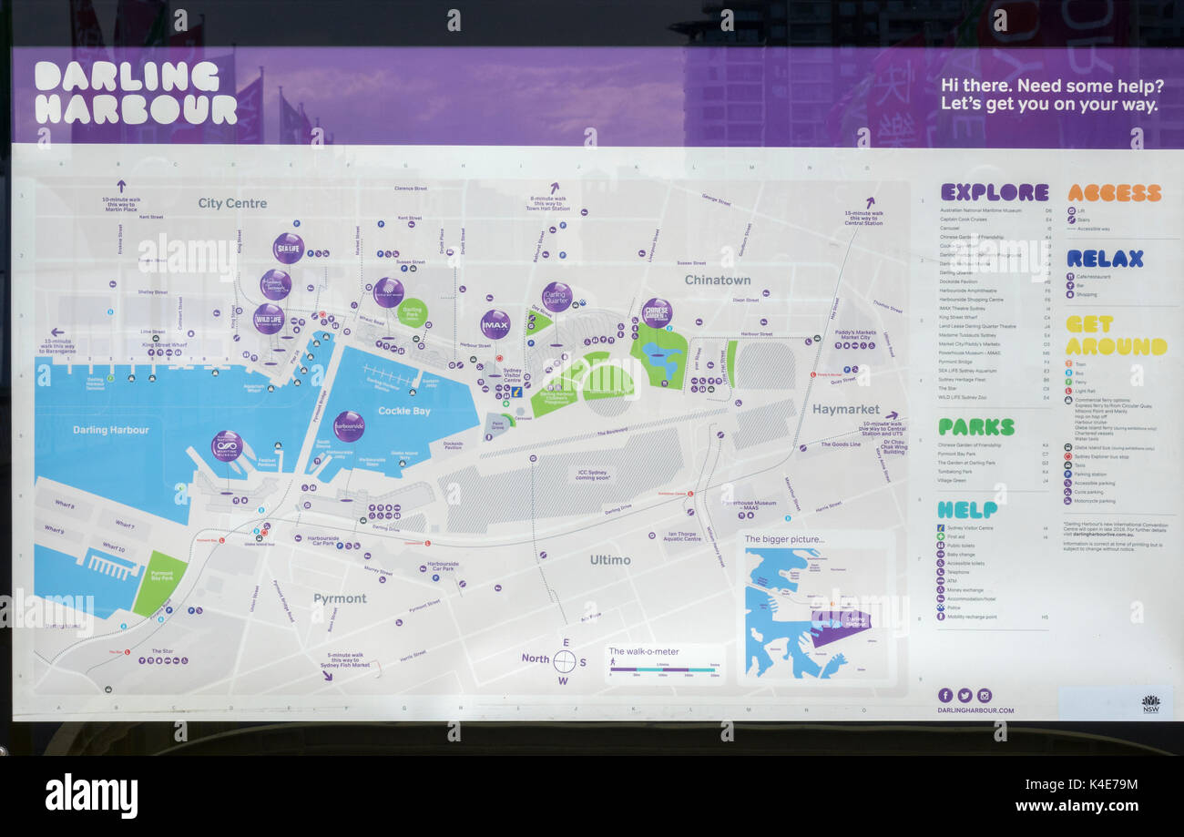A Darling Harbour Public Tourist Map Sydney Australia Showing The