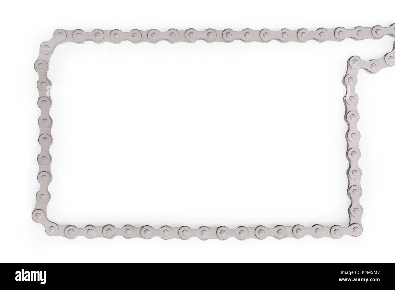 Silver bike chain as frame. Template and background with copy space ...