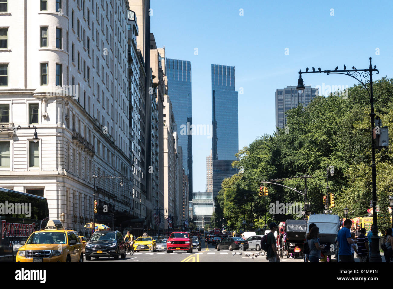 West 59th Street At Fifth Avenue With Time Warner Center In Distance NYC USA