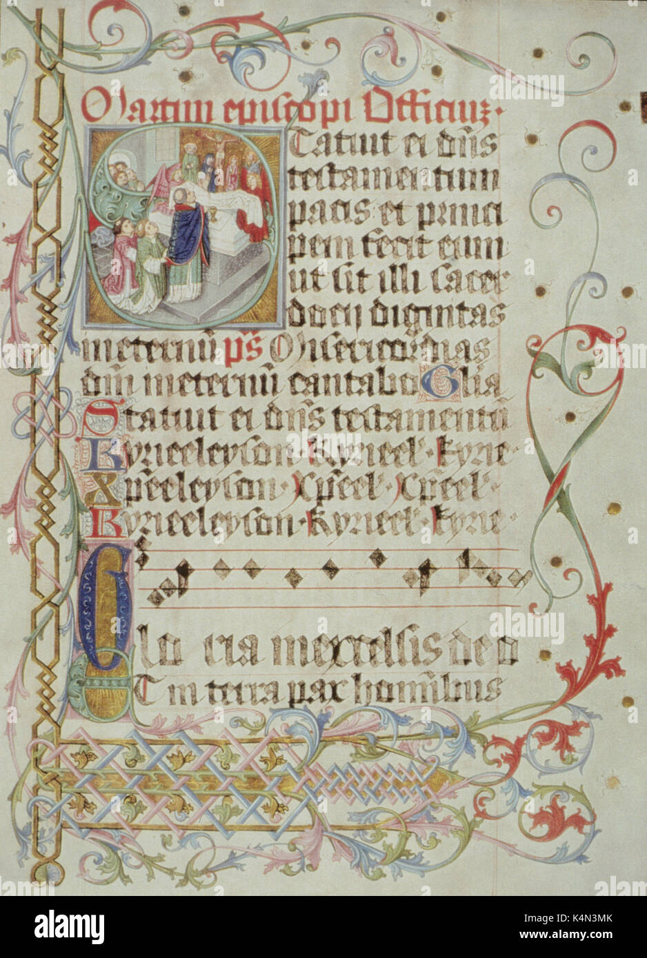 Medieval score - 'INTROIT AND GLORIA' - 1481. Illuminated manuscript.  Example of Gregorian chant. Plainsong. Music written on four line stave -  black notes ...
