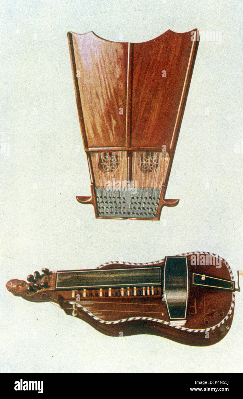 Bell harp (above) and Hurdy Gurdy - 18th century musical