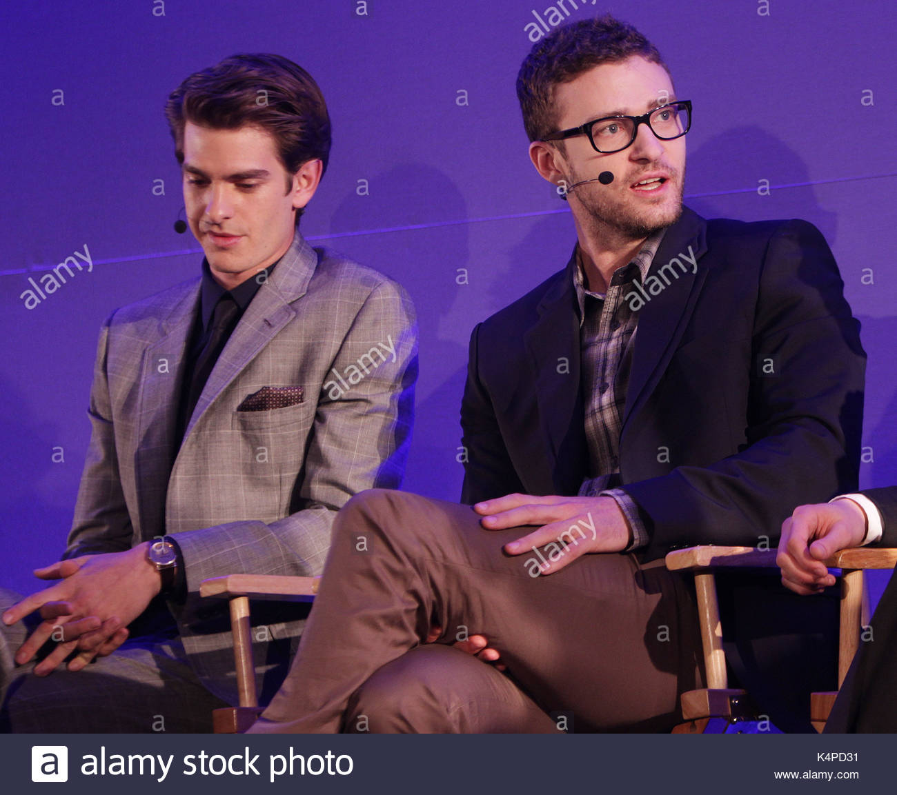 Justin timberlake and andrew garfield actors justin timberlake justin timberlake and andrew garfield actors justin timberlake jesse eisenberg and andrew garfield are seen here attending the meet the filmmakers event m4hsunfo