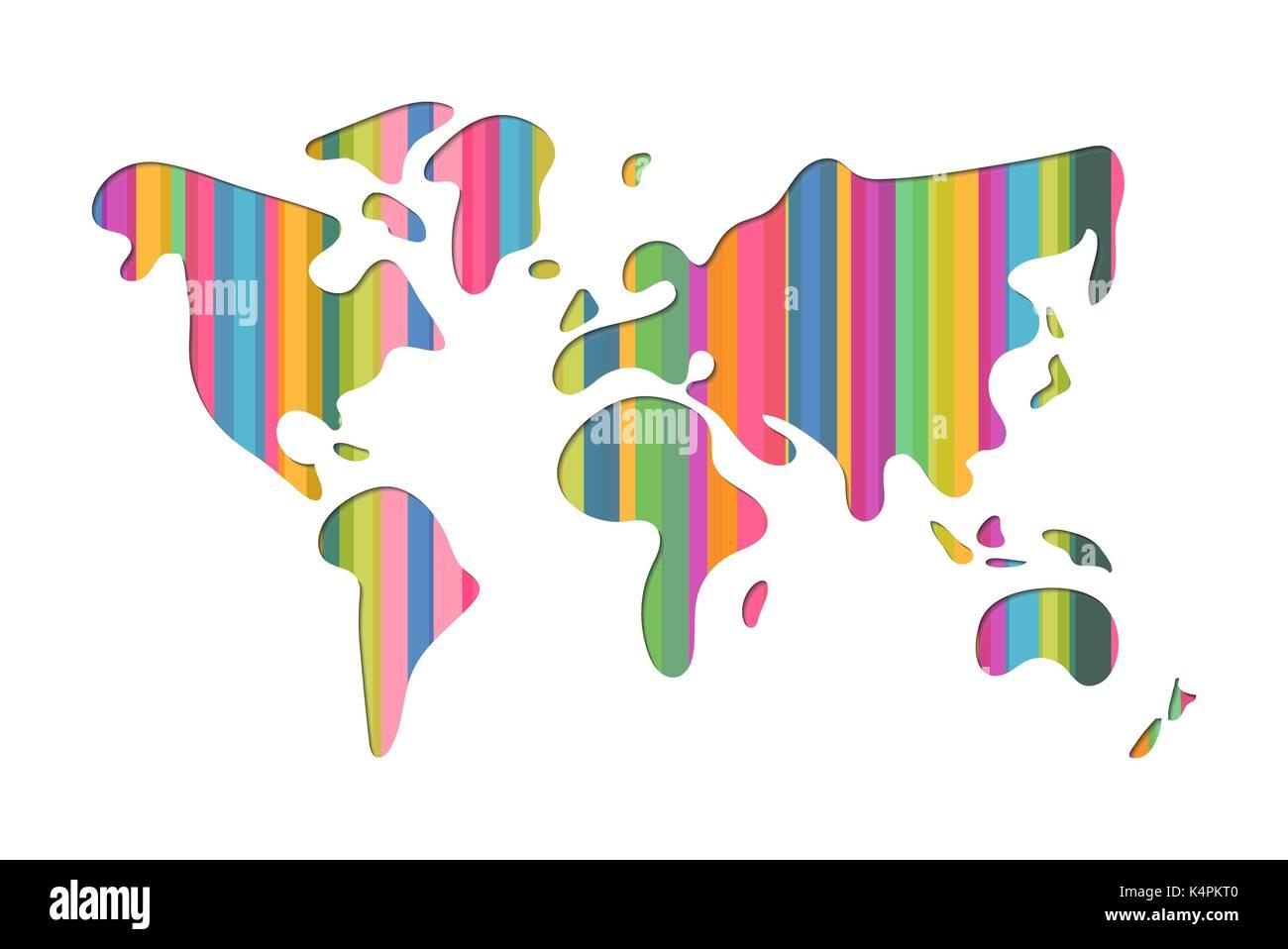 World Map Shape Illustration In Modern D Paper Cut Art Style - World map shape