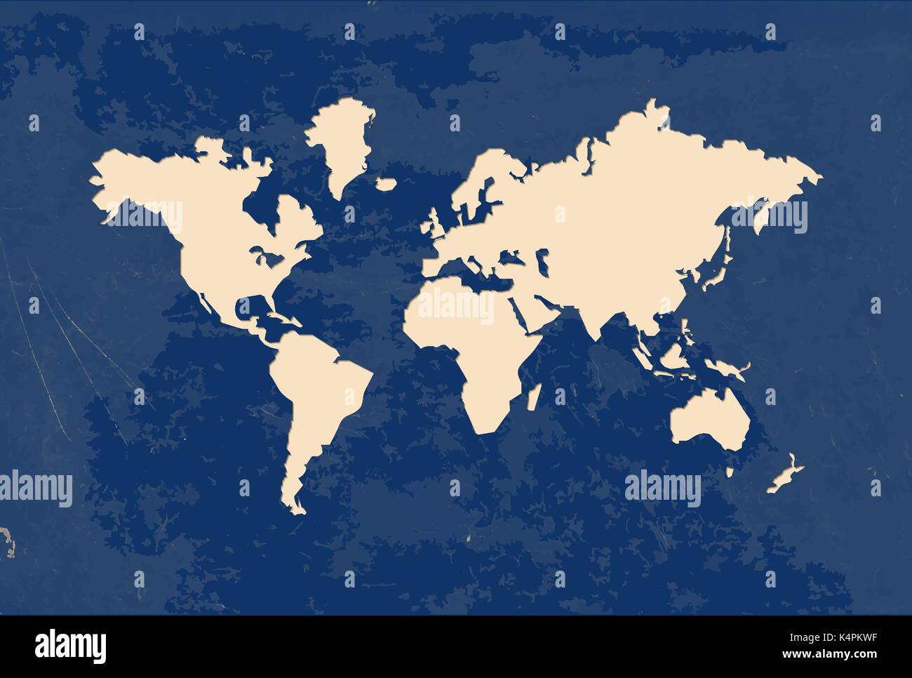 World Map Shape Illustration Template In Modern Paper Cut Art - World map shape