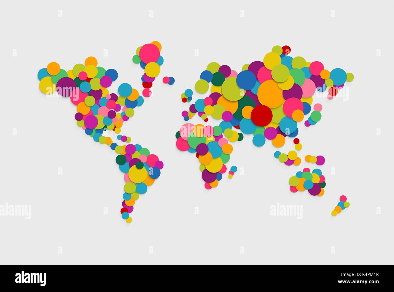 Colorful abstract world map concept illustration made of vibrant colorful abstract world map concept illustration made of vibrant multicolor circles in 3d paper cut style gumiabroncs Image collections