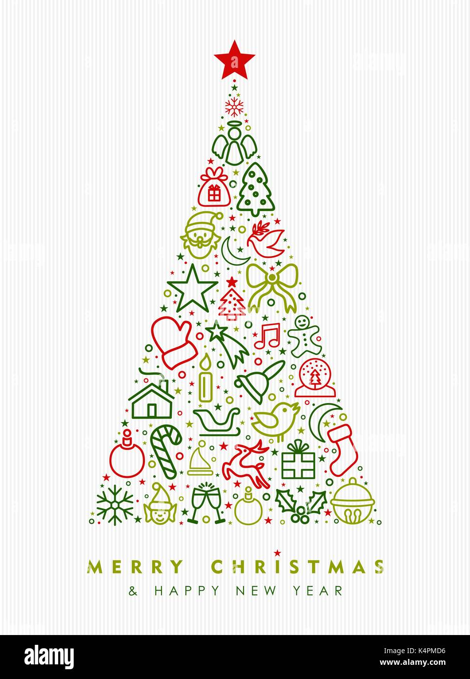 merry christmas and happy new year greeting card design holiday line art icon illustration making pine tree shape eps10 vector