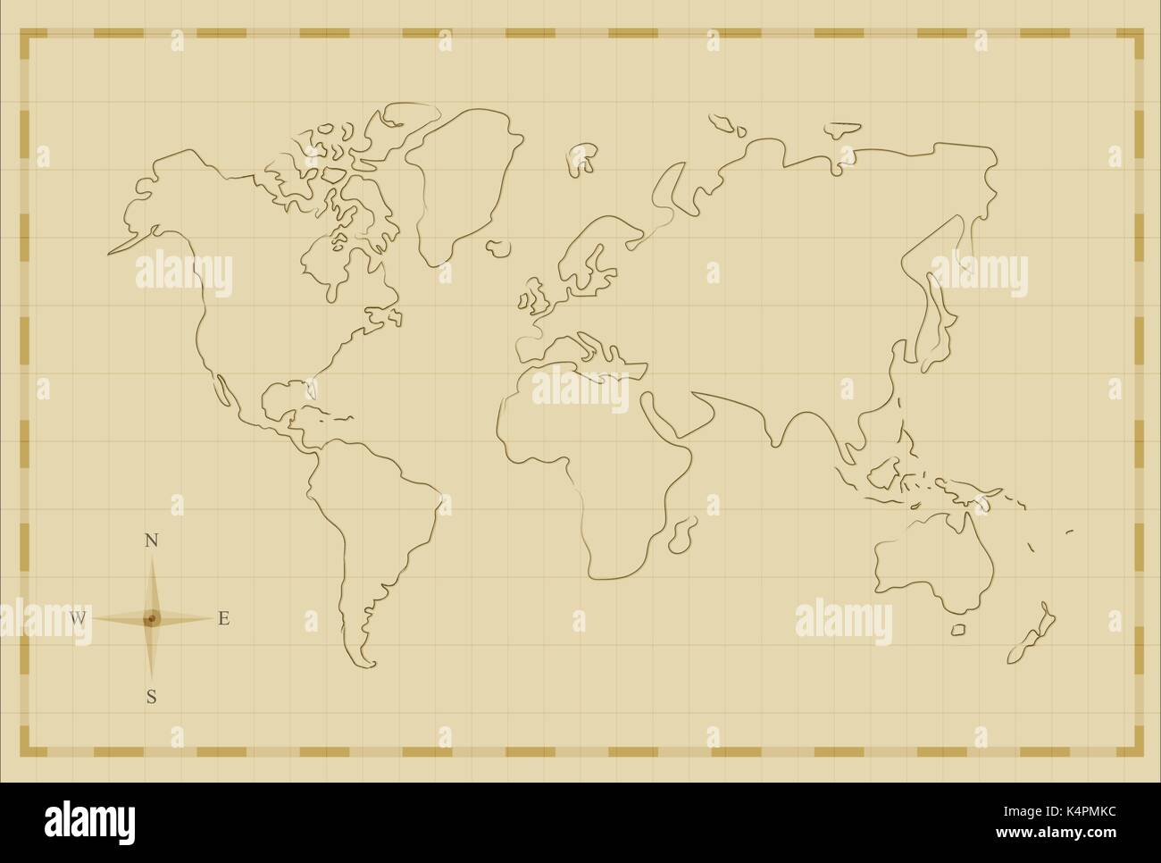 Vintage world map illustration template in old hand drawn style vintage world map illustration template in old hand drawn style antique pirate map concept eps10 vector gumiabroncs Image collections
