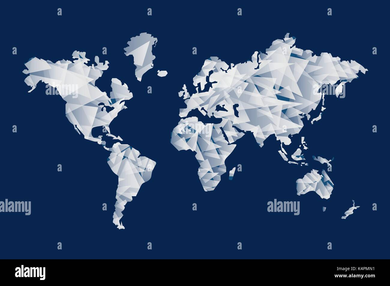 abstract world map illustration template made of triangle shapes