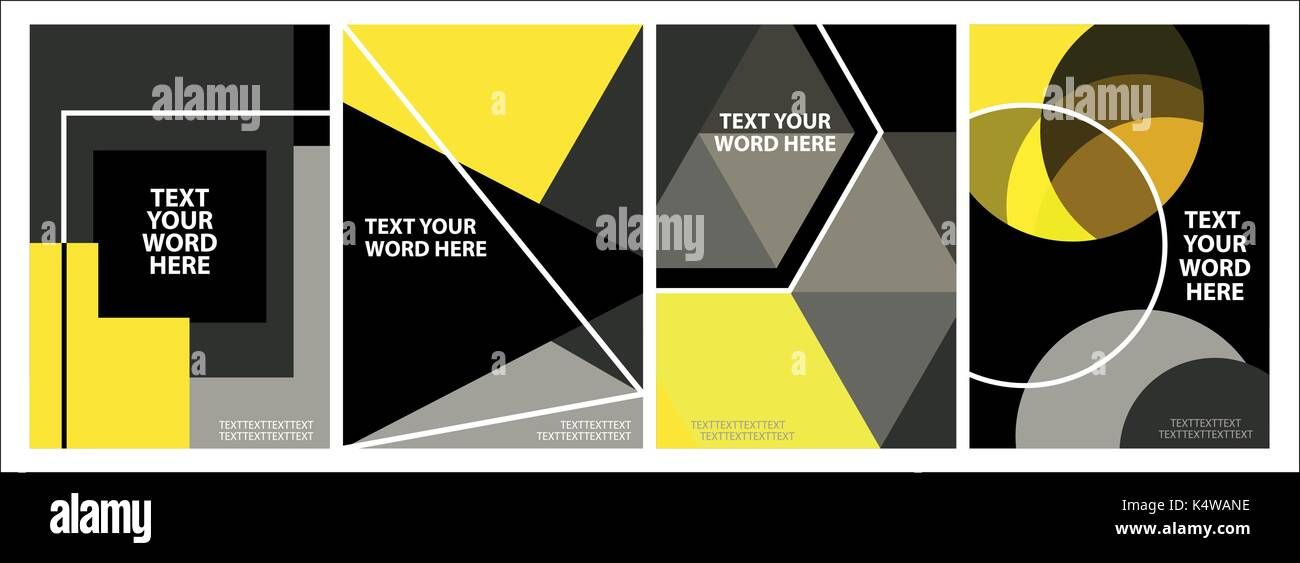 set of 4 minimal geometric graphic covers design simple poster