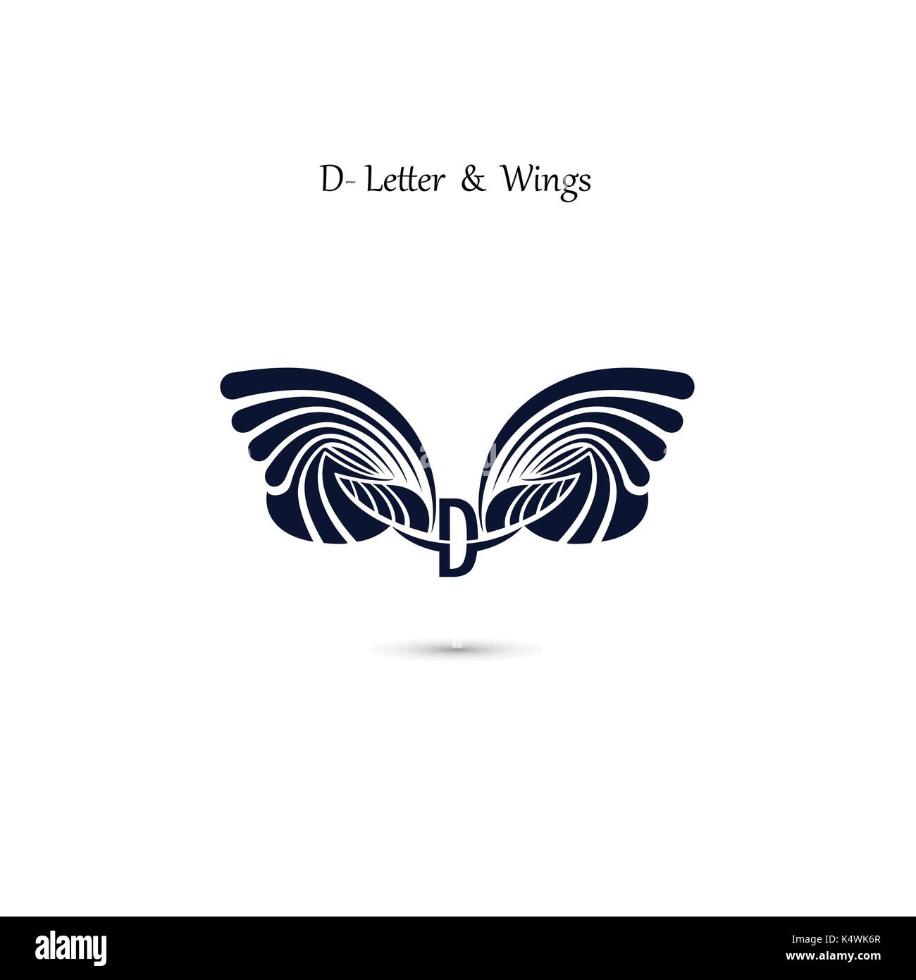 d letter sign and angel wings monogram wing vector logo stock vector