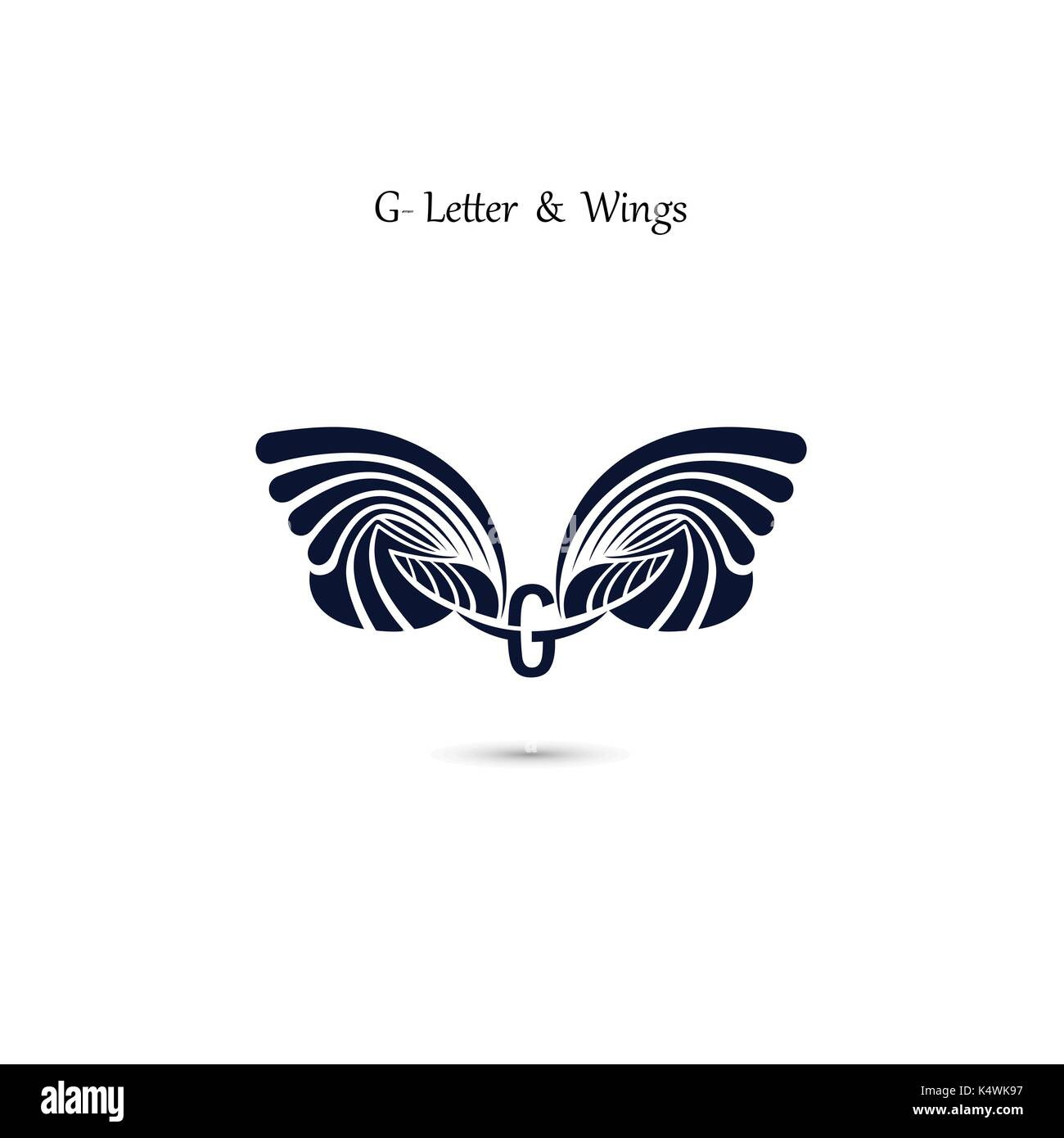 g letter sign and angel wings monogram wing vector logo stock vector