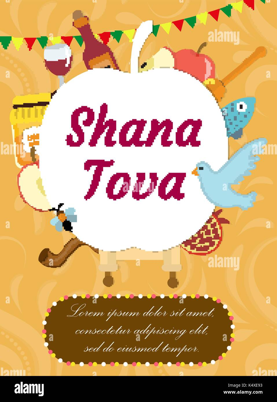 Jewish new year greeting card stock photos jewish new year rosh hashanah poster flyer invitation greeting card shana tova is a template kristyandbryce Choice Image