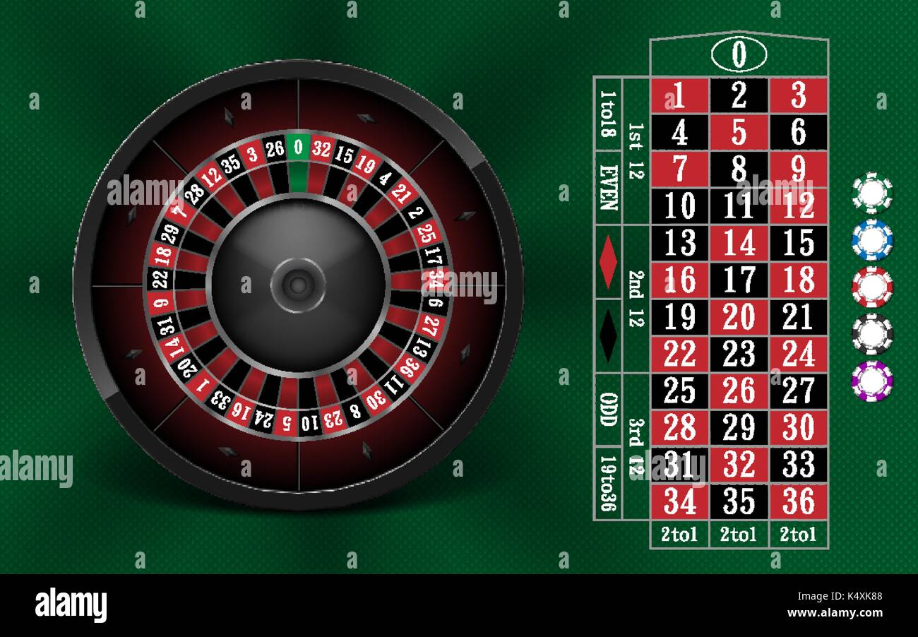 Traditional european roulette table vector illustration stock vector - Casino Gambling Background Design With Realistic Roulette Wheel And Casino Chips Roulette Table Isolated On