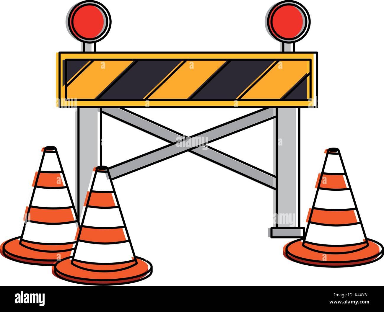 construction fence signal icon vector illustration design stock