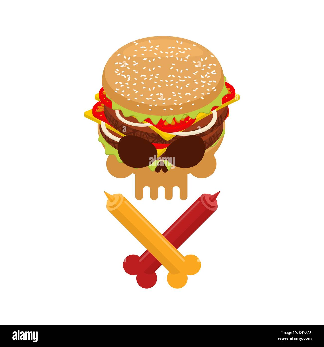 Hamburger And Ketchup And Mustard Symbol Harm Is Danger Of Fast