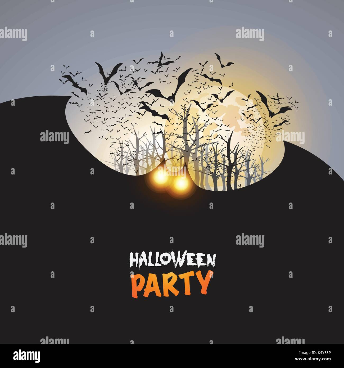 halloween party card template flying bats with glowing eyes stock