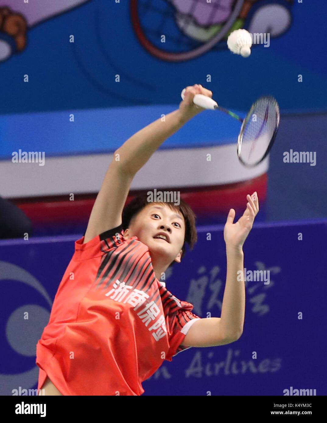 Tianjin 7th Sep 2017 Chen Yufei of Zhejiang petes during the