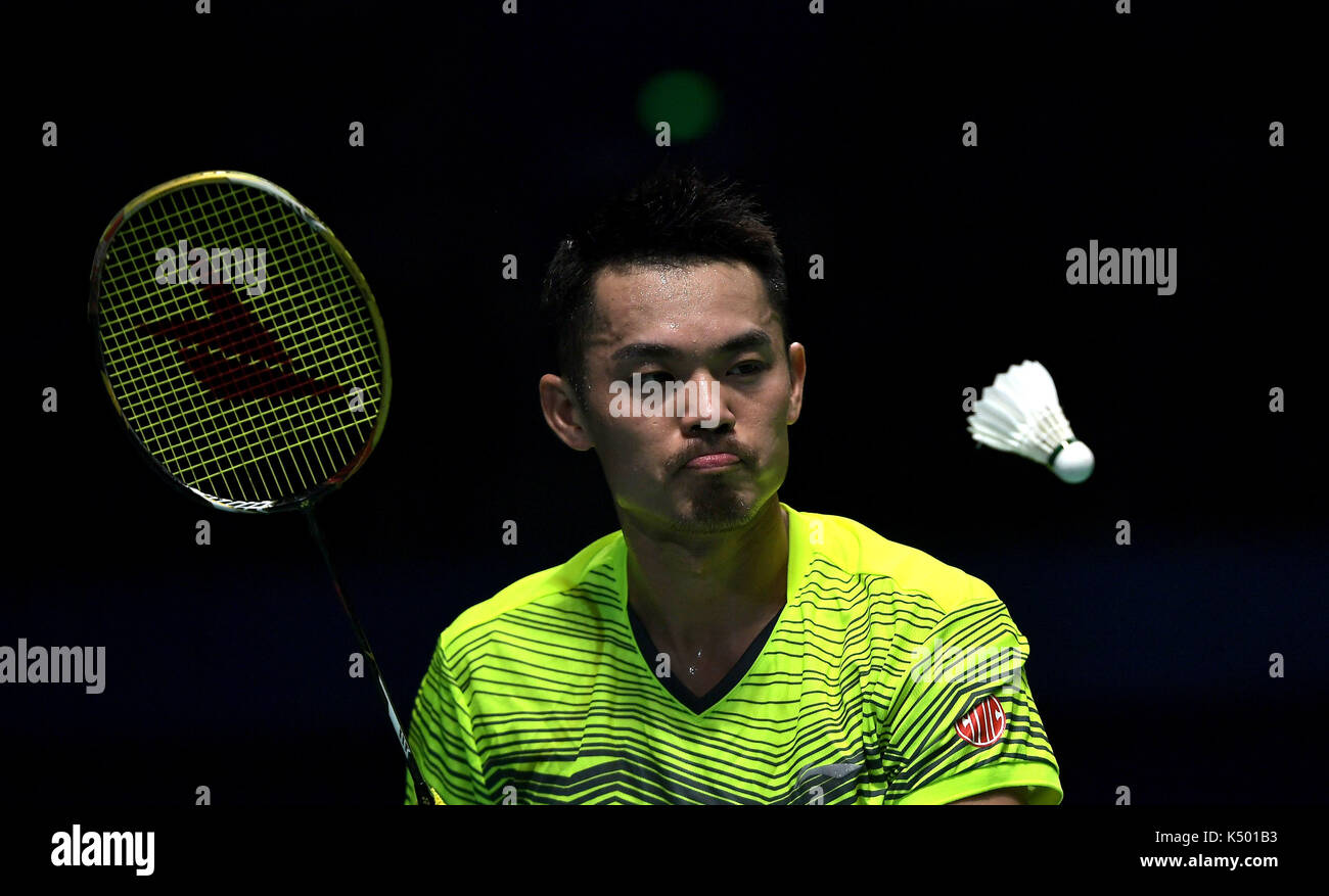 Tianjin 8th Sep 2017 Lin Dan of Beijing petes during the