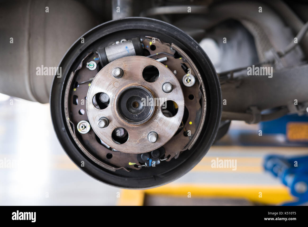 Detail Of Car Suspension Bearing Of Wheel Hub In Auto Service
