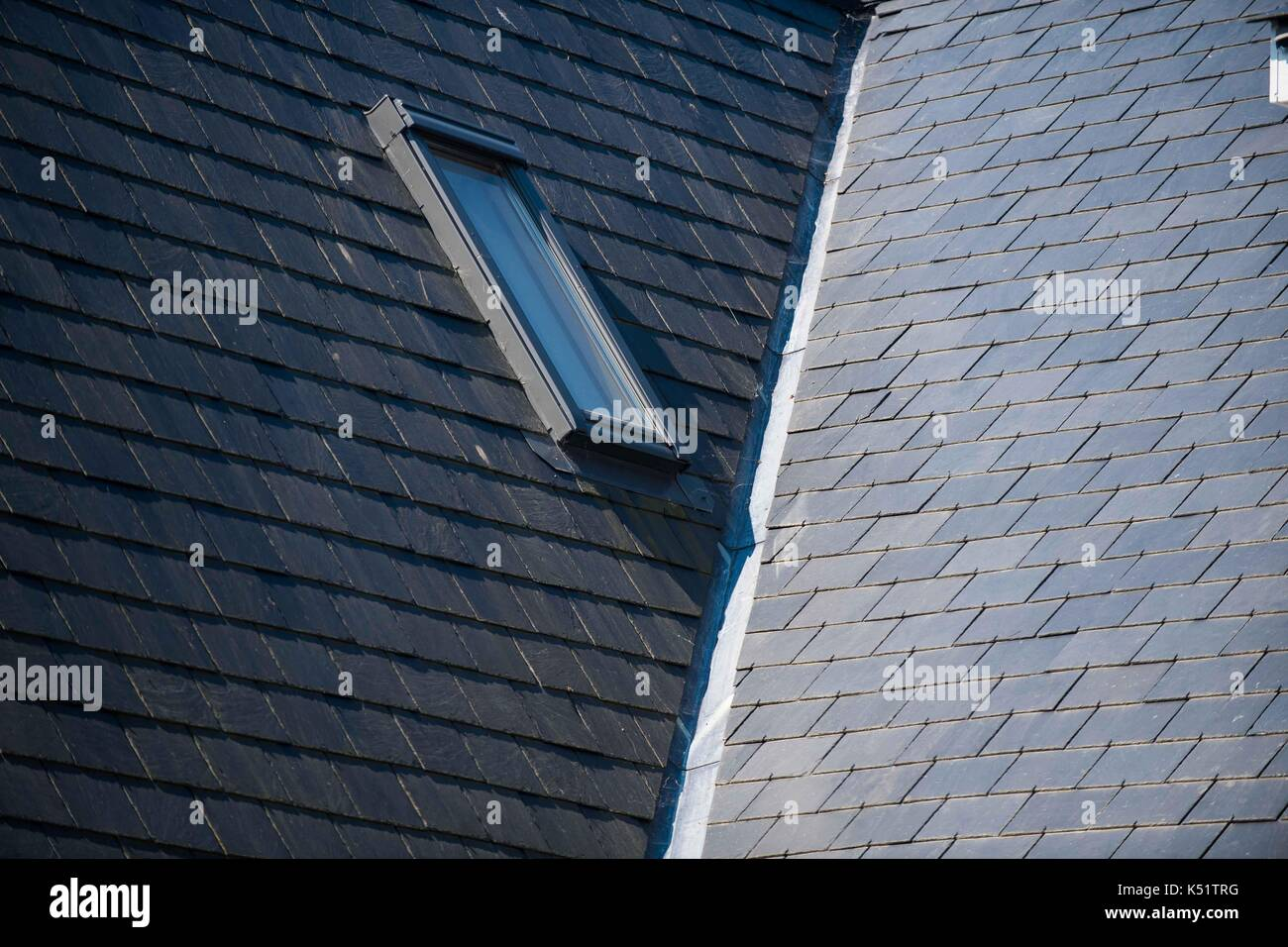 Roof construction slate tiles stock photos roof for Composite roofing tiles