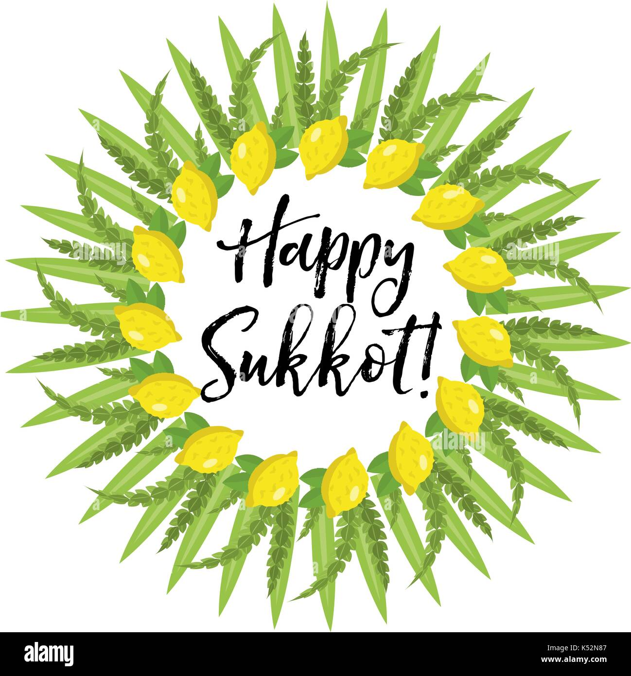 Happy Sukkot Round Frame Of Herbs Jewish Holiday Huts Template For