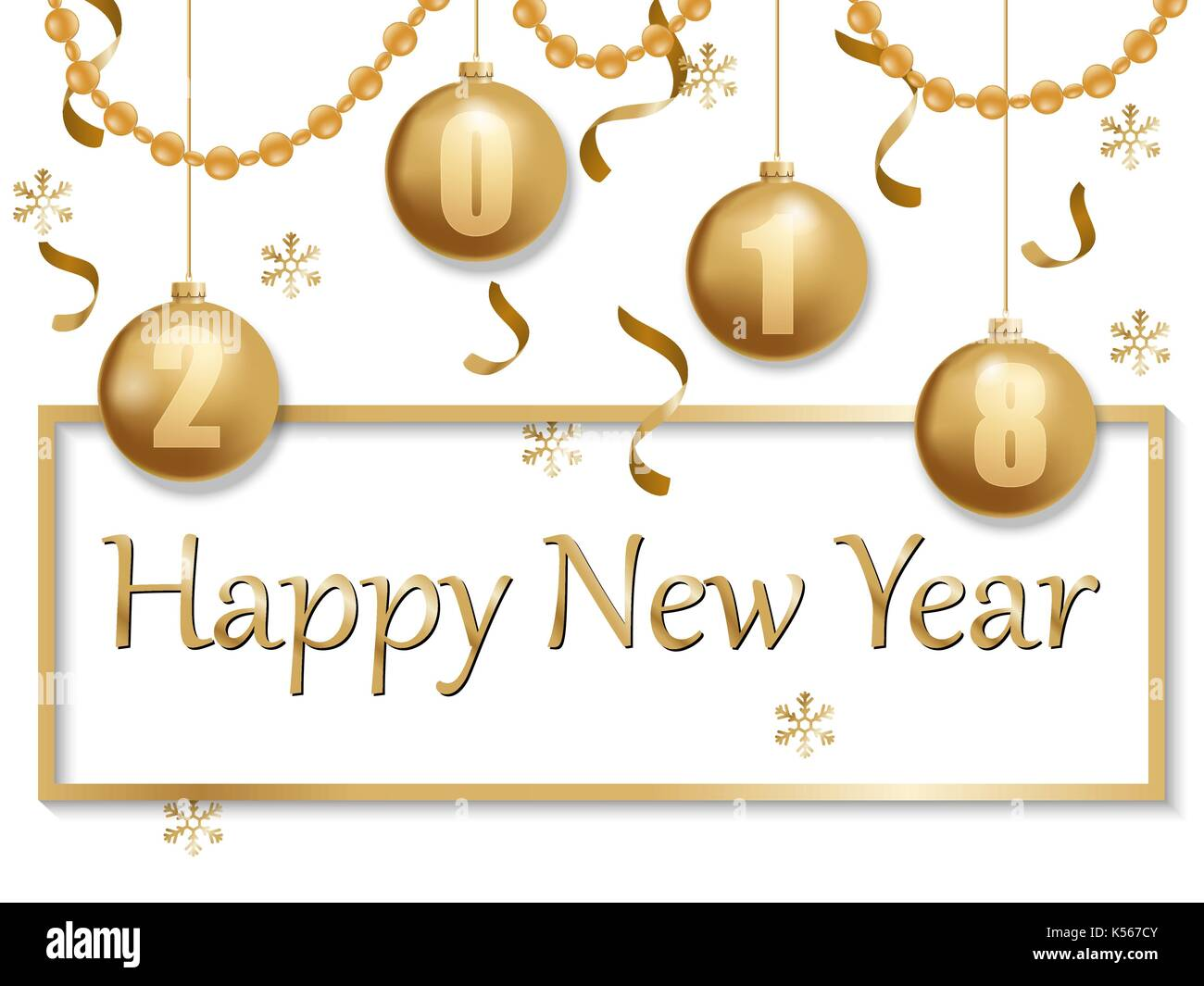 happy new year 2018 gold and black