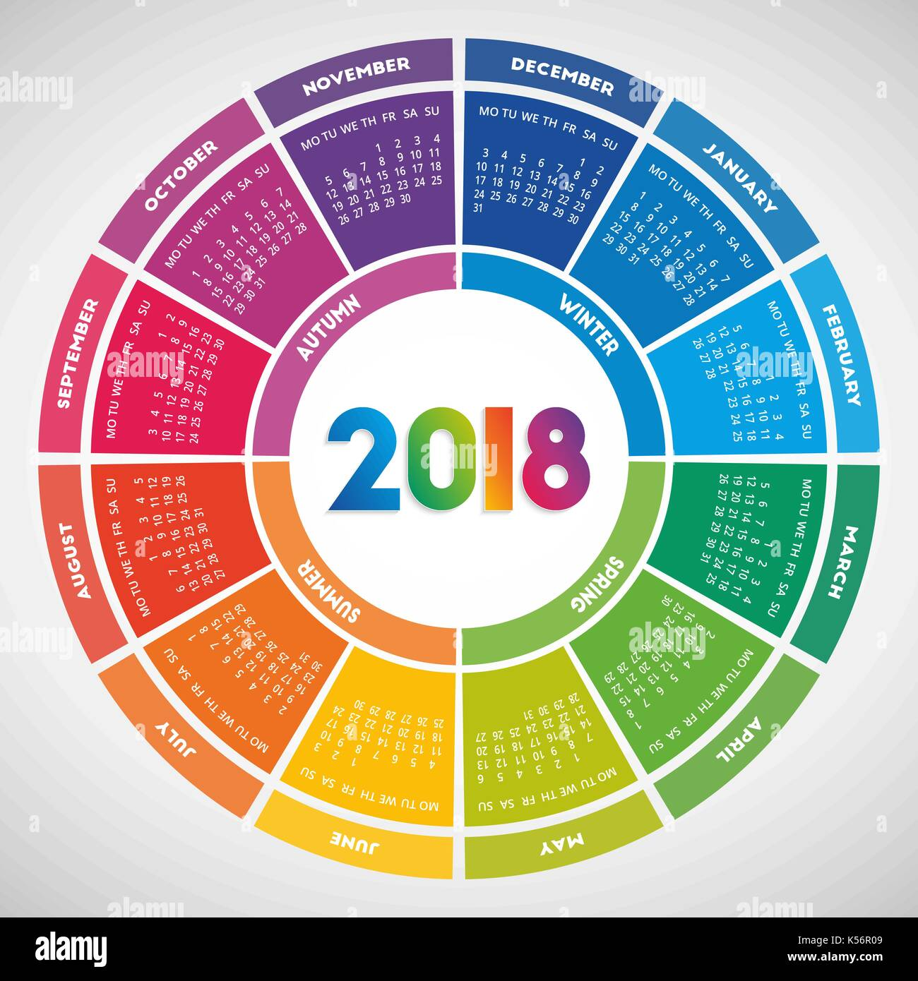 Year Round Calendar Template : Colorful round calendar design week starts on monday
