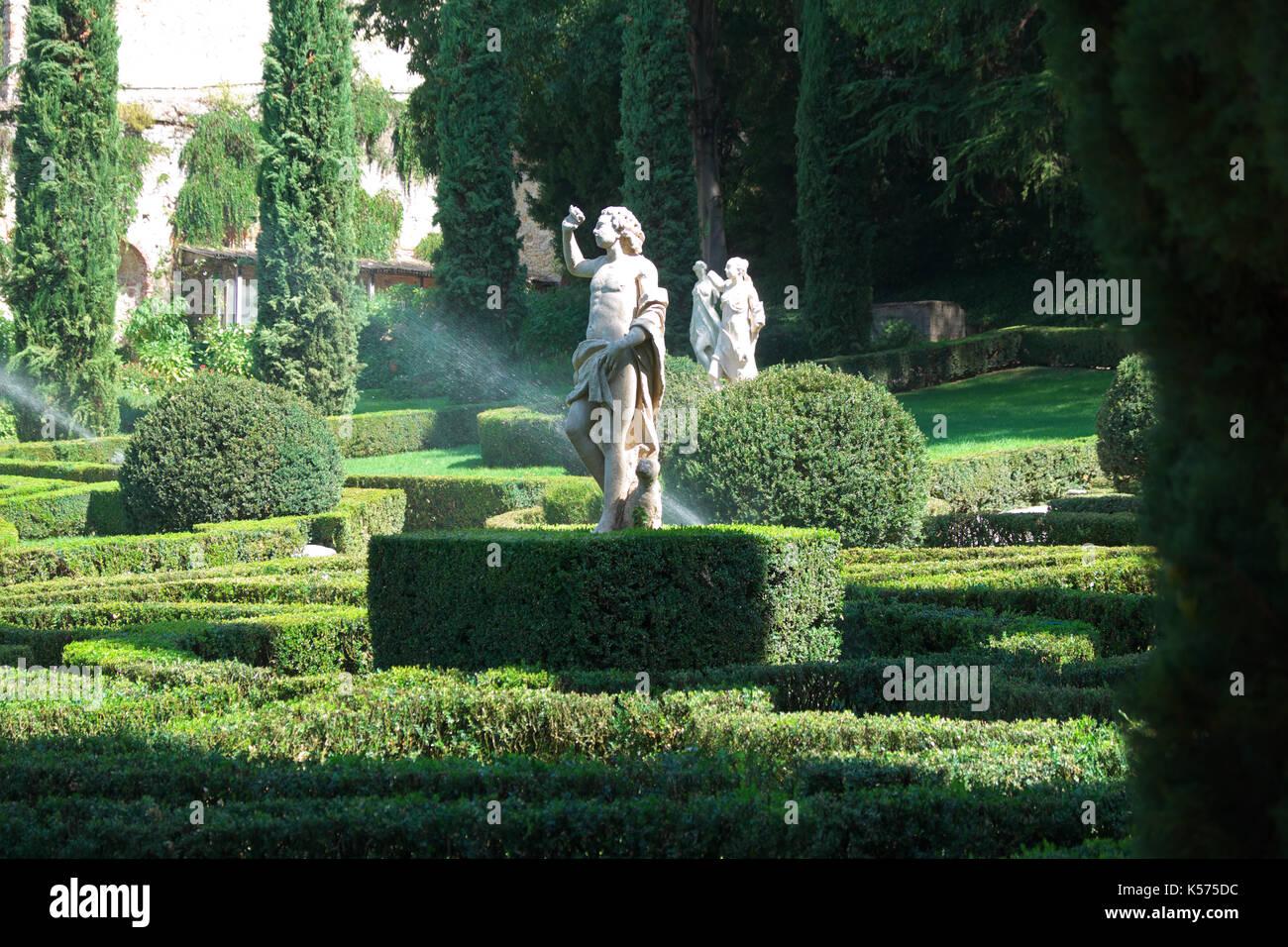 Verona italy the giardino giusti statues in the ornate gardens
