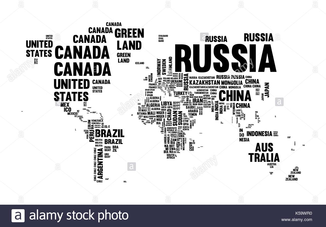 Typography World Map Made Of Every Country Name In Black And White - World map pic with country name
