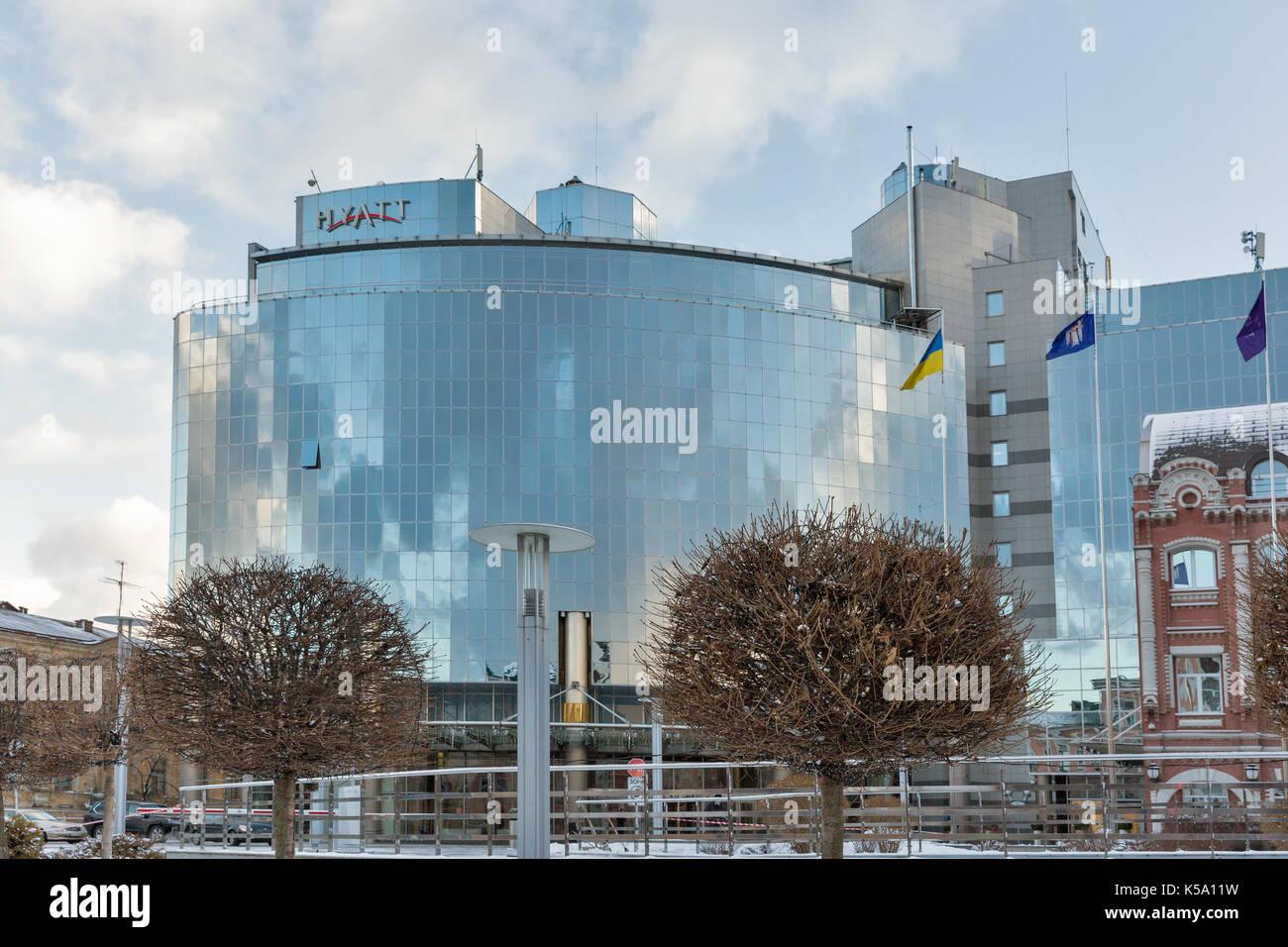 Kiev Ukraine January 03 2017 Sophia Square With Hyatt Hotel