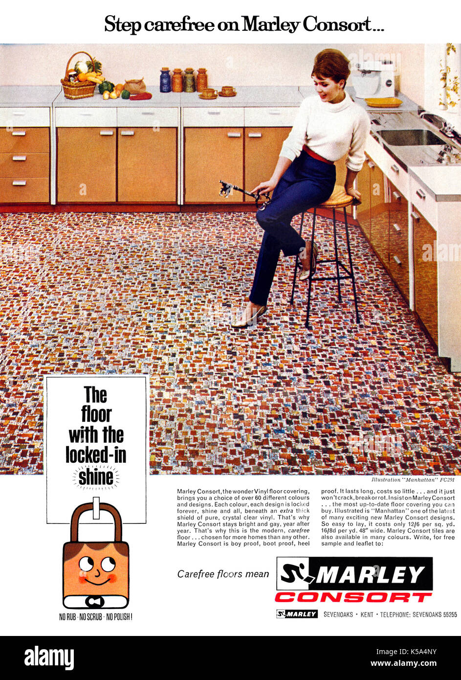 Marley floors stock photos marley floors stock images alamy 1965 british advertisement for marley consort vinyl floor covering stock image dailygadgetfo Gallery