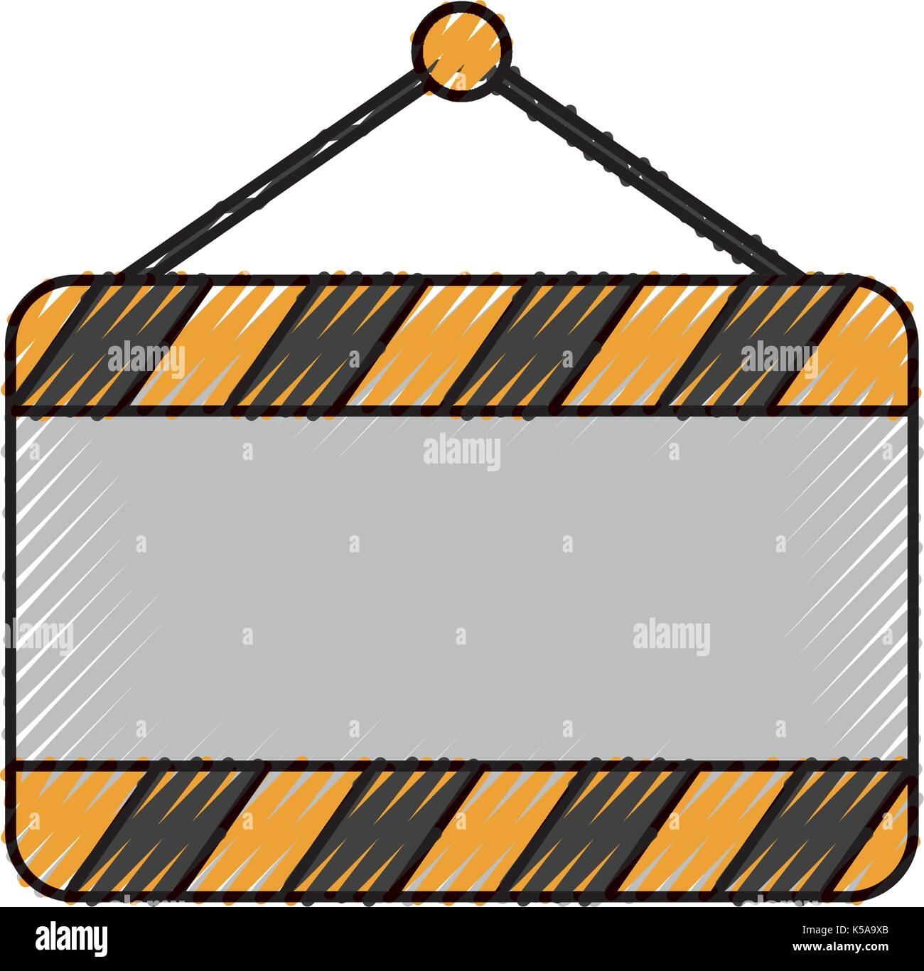 signal board blank construction hanging on the nail stock vector art