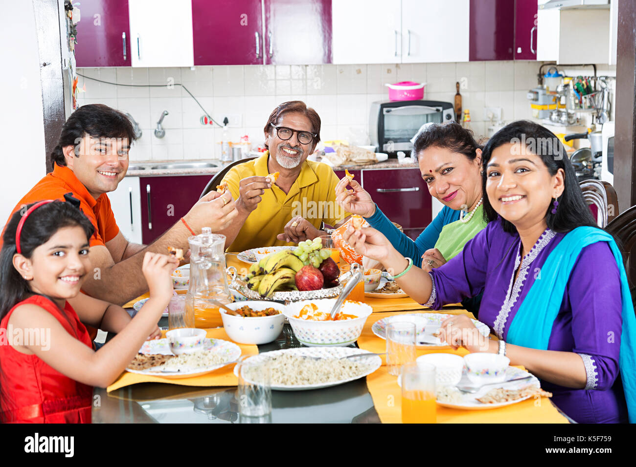 Big Family Dining Table Eating Food Dinner At Home