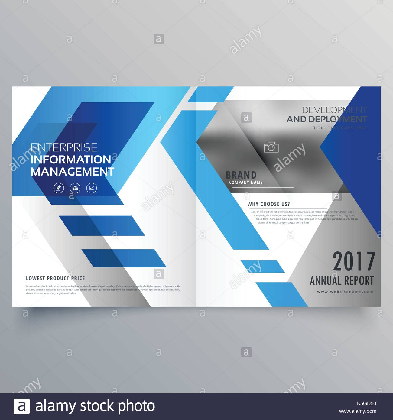 elegant blue bifold brochure design template or magazine cover