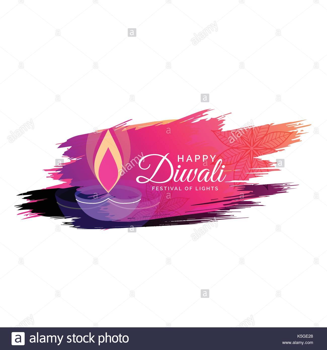 Creative Watercolor Diwali Festival Greeting Card Design With Diya