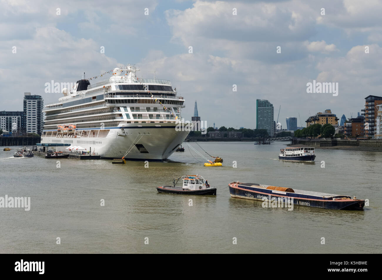 The Viking Sea Cruise Ship Moored At Greenwich In London England - Cruise ship in london