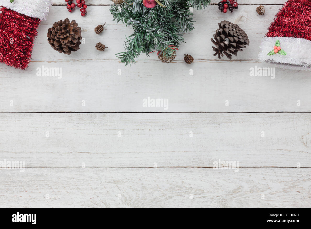 top view of decoration happy new year 2018 background conceptmix variety essential of accessories for seasondifferent object on the modern rustic wh