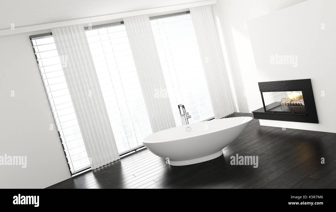Slanted view of porcelain bathtub in minimalist bright bathroom with ...