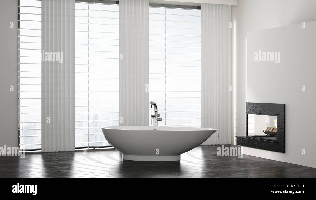 Minimalist spacious modern bathroom interior with boat shaped ...