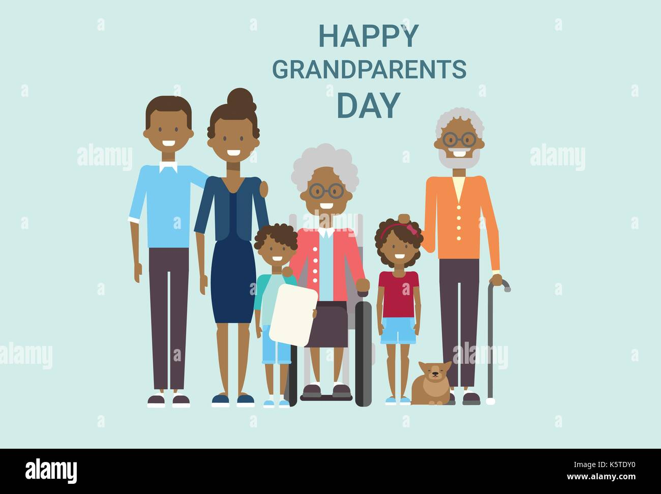 Happy Grandparents Day Greeting Card Banner Big African American